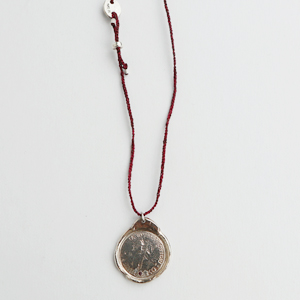 signature, old coin necklace