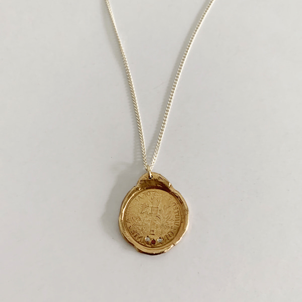 old coin necklace ; antique-gold plated ( limited )